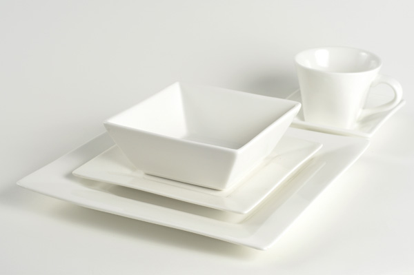 White Square Coffee Cup Or Saucer