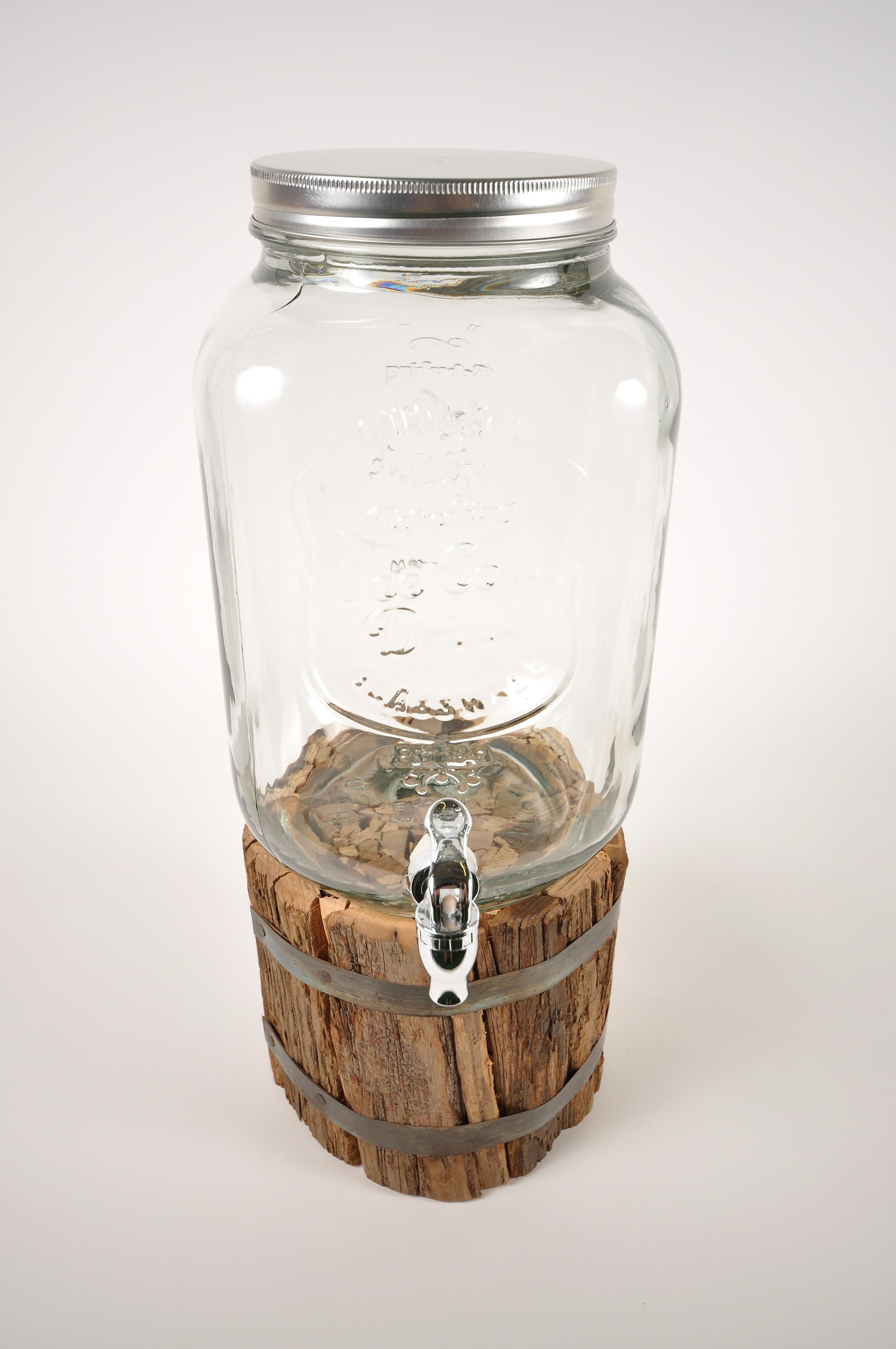 Beverage Dispenser Mason Jar W Wood Bundle
