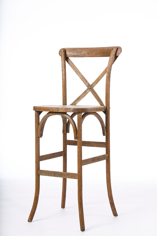 Bar Stool Driftwood X Back Professional Party Rentals
