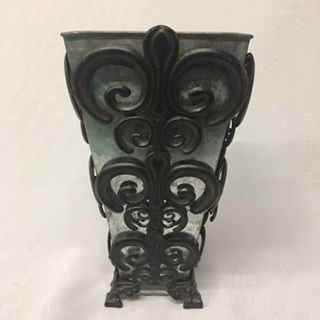Wrought Iron Stand W Galvanized Vase 12 Tall