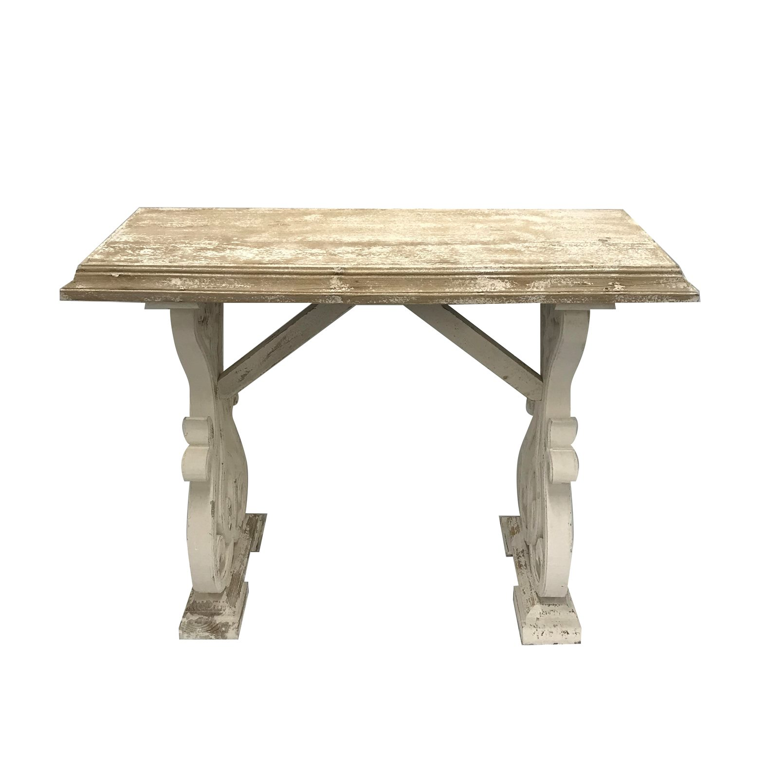 Console Table Distressed White 17 X 42 X 32