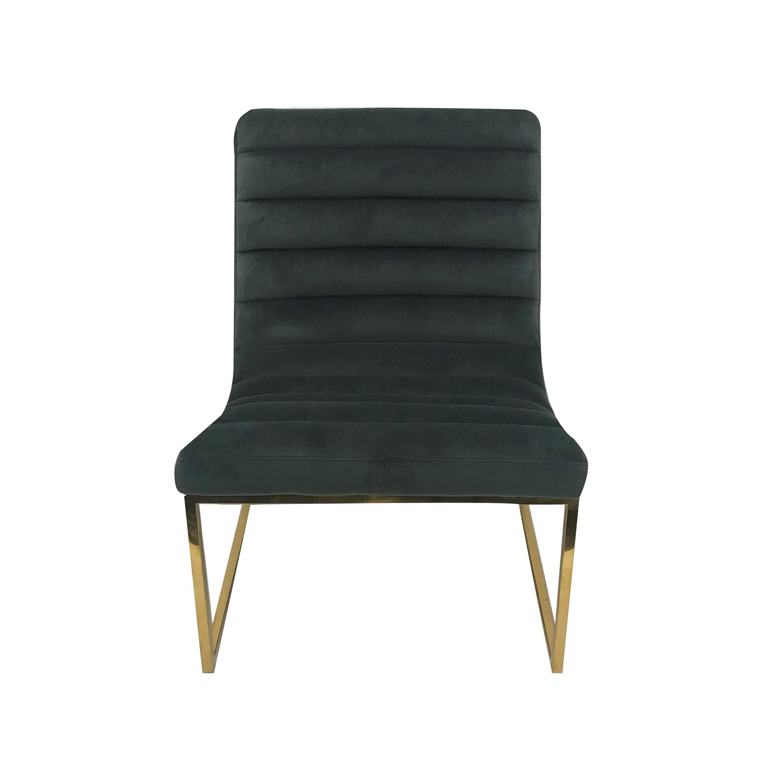 Blue Green Velvet Chair Ribbed With Gold Base
