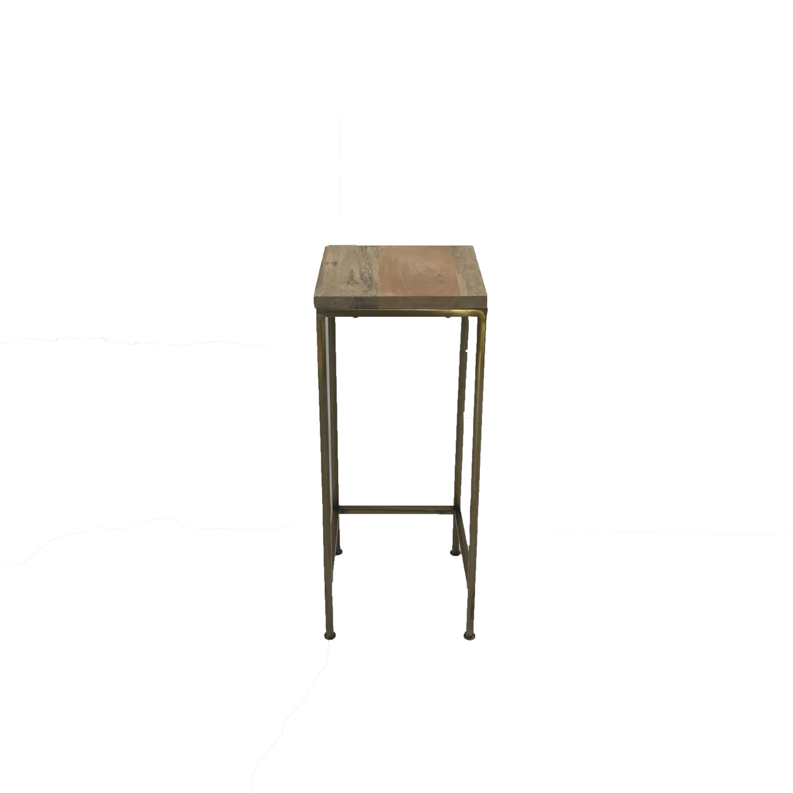 Natural Side Table W Gold Legs 10 X 24 T Professional Party Rentals